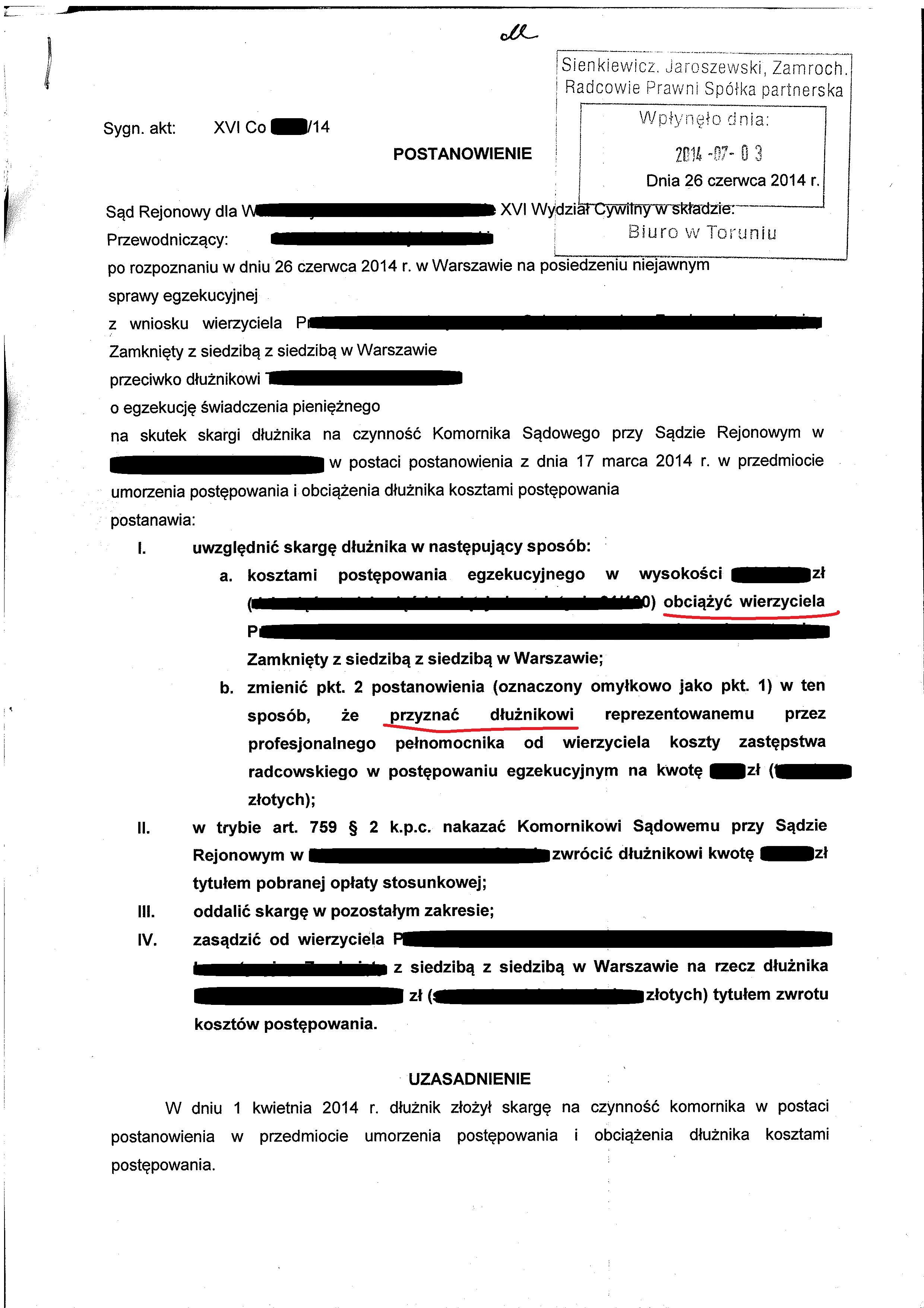 Poważne Skarga na czynności komornika w przedmiocie kosztów egzekucji AI64